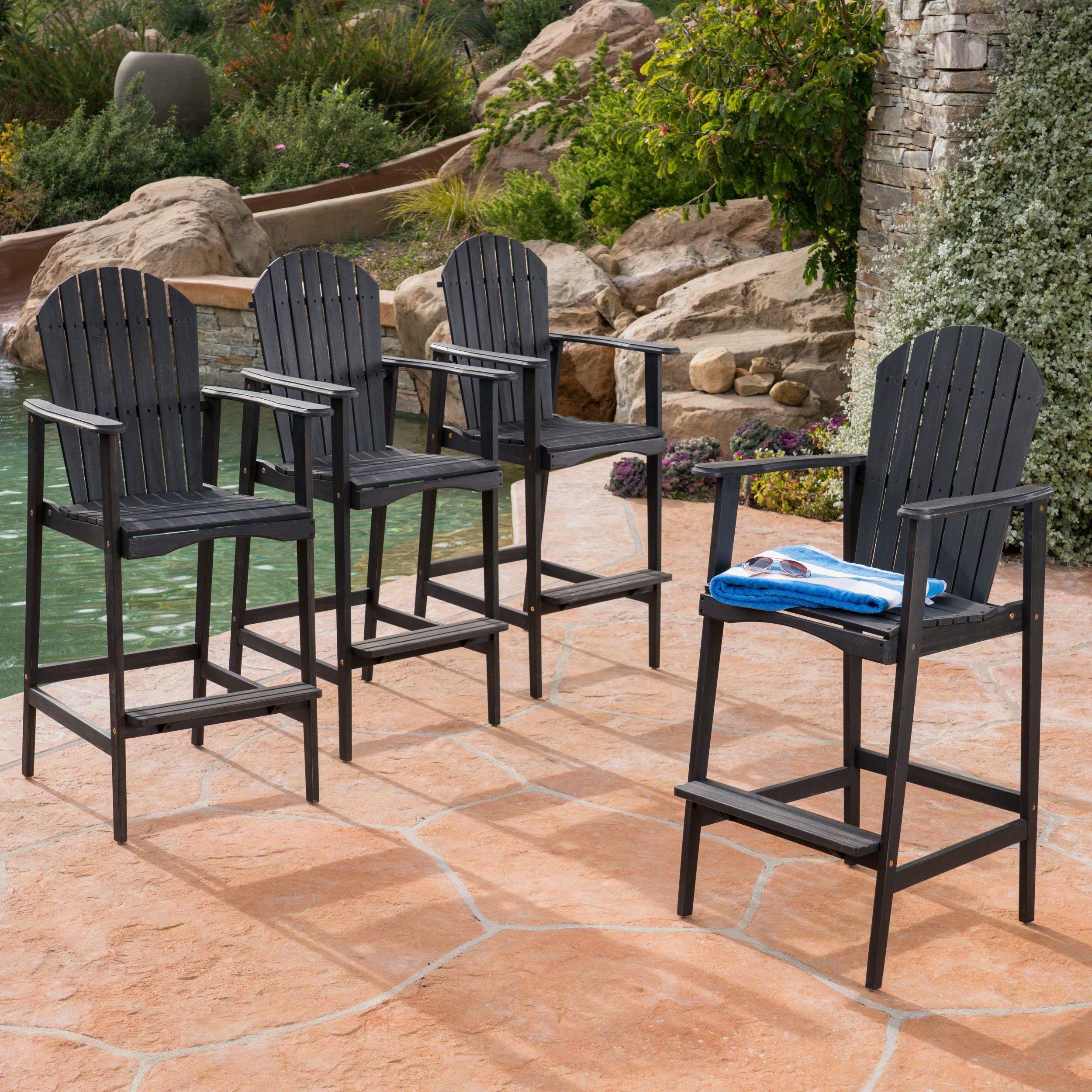 Great Deal Furniture Malibu Outdoor Dark Grey Finished Acacia Wood Adirondack Barstools (Set of 4)