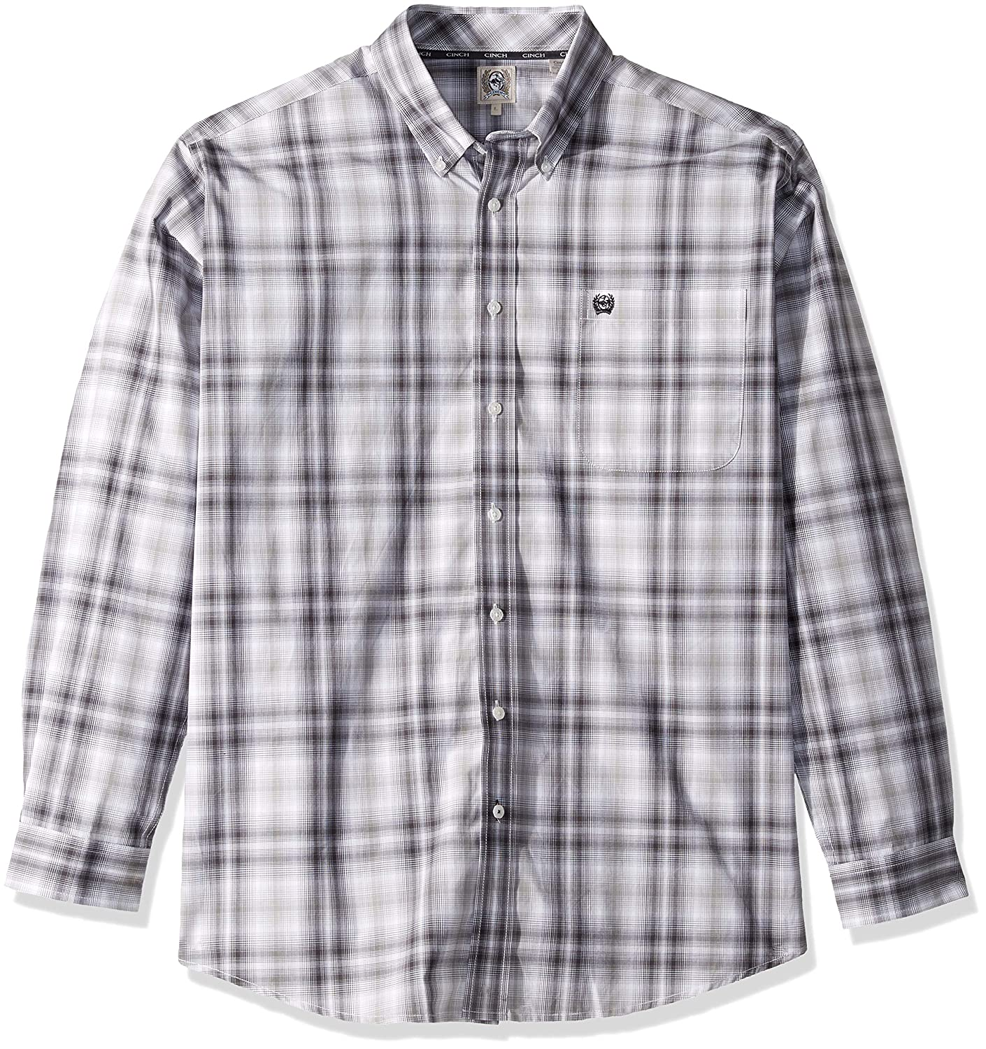 Cinch Mens Classic Fit Long Sleeve Button One Open Pocket Plaid Shirt