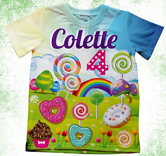e1ff577f Amazon.com: Personalized Candy land T-Shirt, Birthday Candy land Shirt,  Lollypops, Cupcakes, Rainbows, Girls birthday T-shirt, Birthday Shirts,candy:  ...