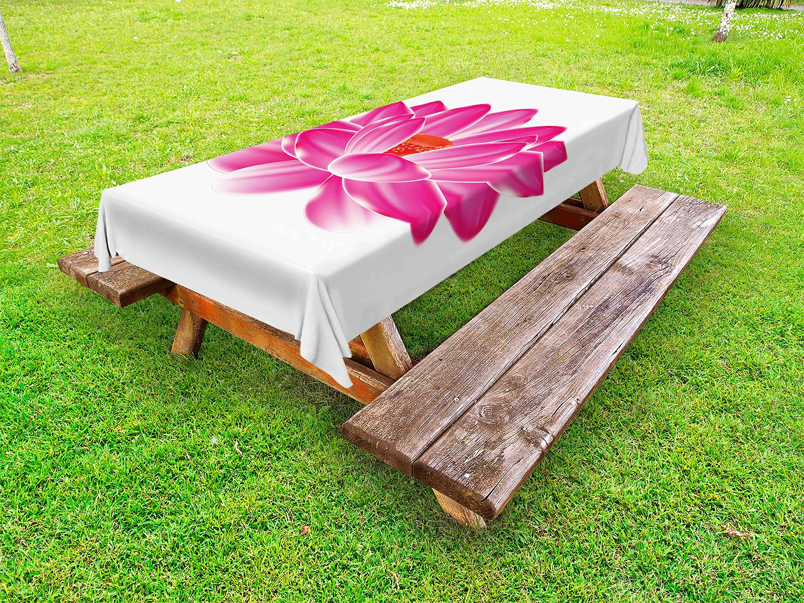 Lunarable Lotus Outdoor Tablecloth, Vibrant Lotus Flower Pattern Spa Zen Yoga Asian Balance Energy Lifestyle Artsy Image, Decorative Washable Picnic Table Cloth, 58 X 104 inches, Magenta Red by Lunarable (Image #1)