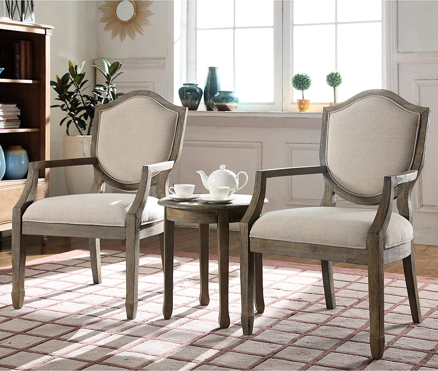 """Best Master Furniture Brave Traditional Living Room Accent Chair and Table  Set, 6"""" x 6"""" x 6"""""""