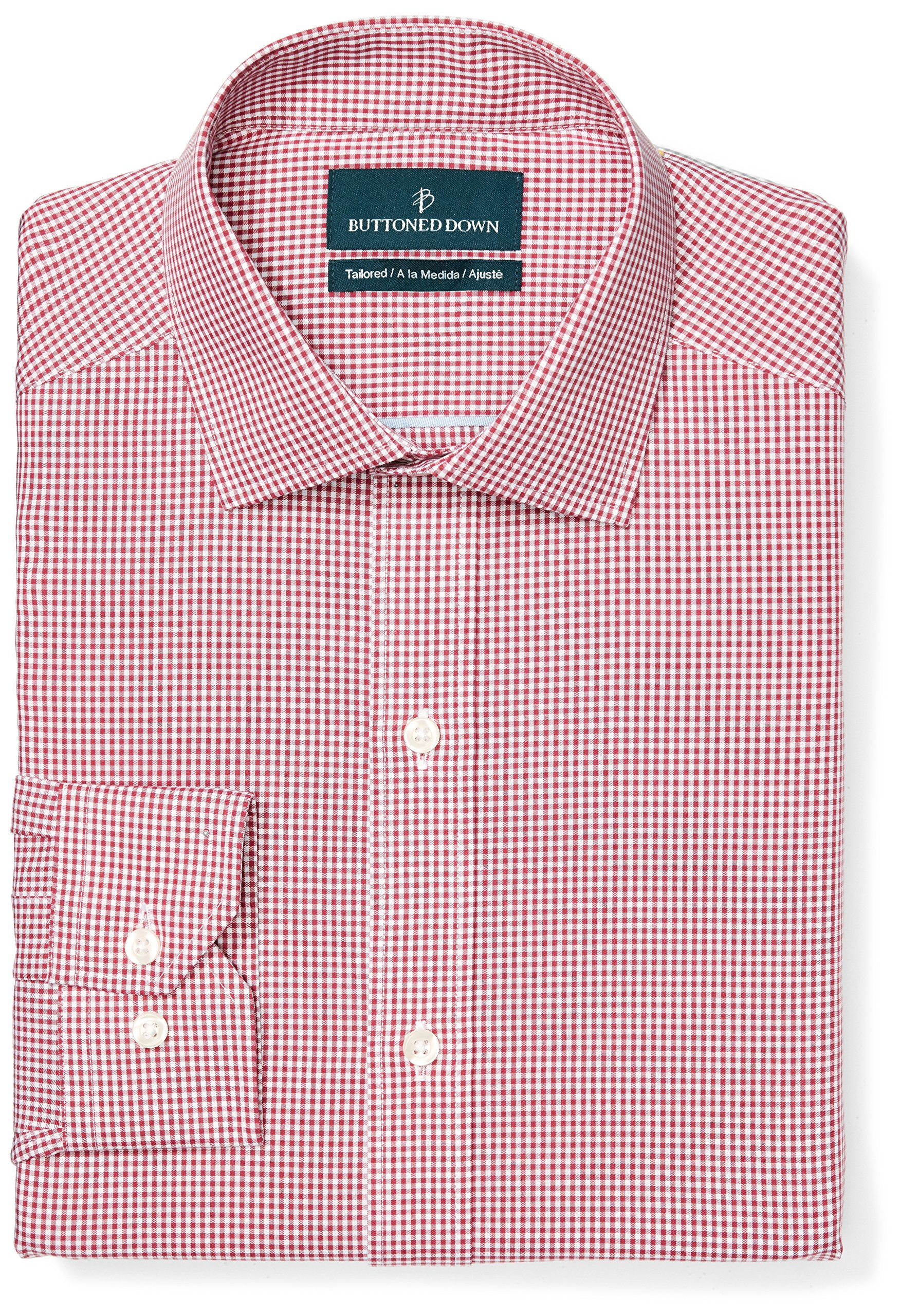 Buttoned Down Men's Tailored Fit Spread-Collar Pattern Non-Iron Dress Shirt, Burgundy Small Gingham, 15'' Neck 33'' Sleeve