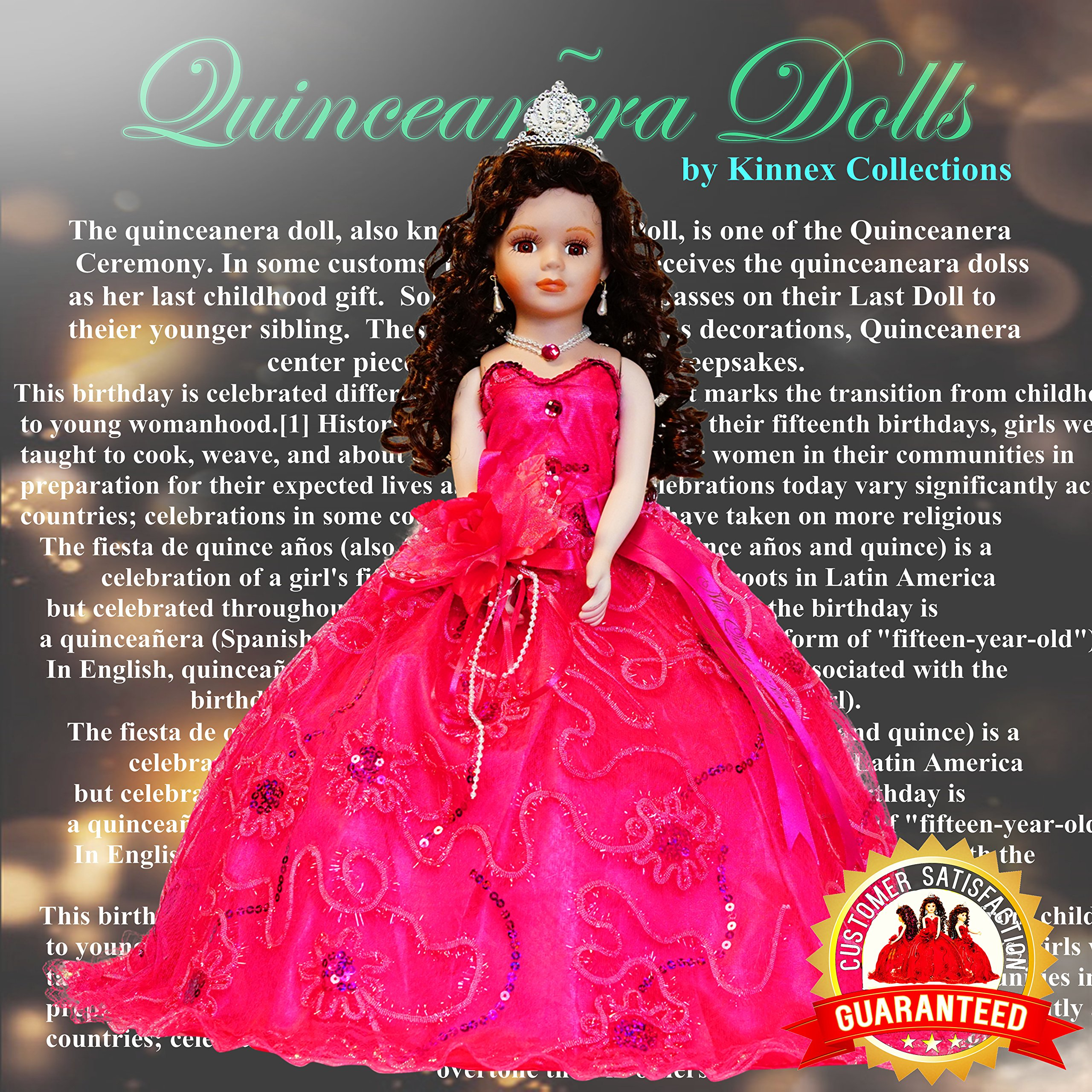 Kinnex Collections by Amanda 18'' Porcelain Quinceanera Umbrella Doll (Quince Anos)~ Fuchsia ~ KK18725-9