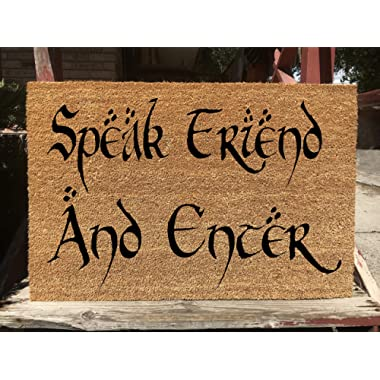 KiwiCraftdom - Speak Friend and Enter! Lord of The Rings Inspired Doormat - Large Welcome Door Mat - Cute Housewarming Gifts - Fun Birthday Present