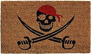 "Calloway Mills 121211729 Pirate Doormat, 17"" x 29"", Black/Red"