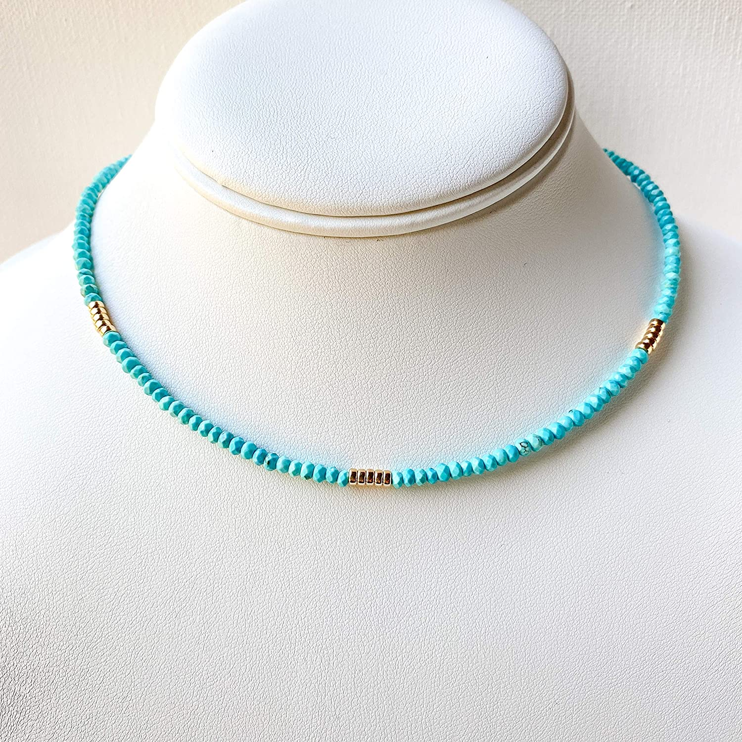 Turquoise Choker Necklace 14k Gold-Filled Elegant and Minimalist Jewelry for Women