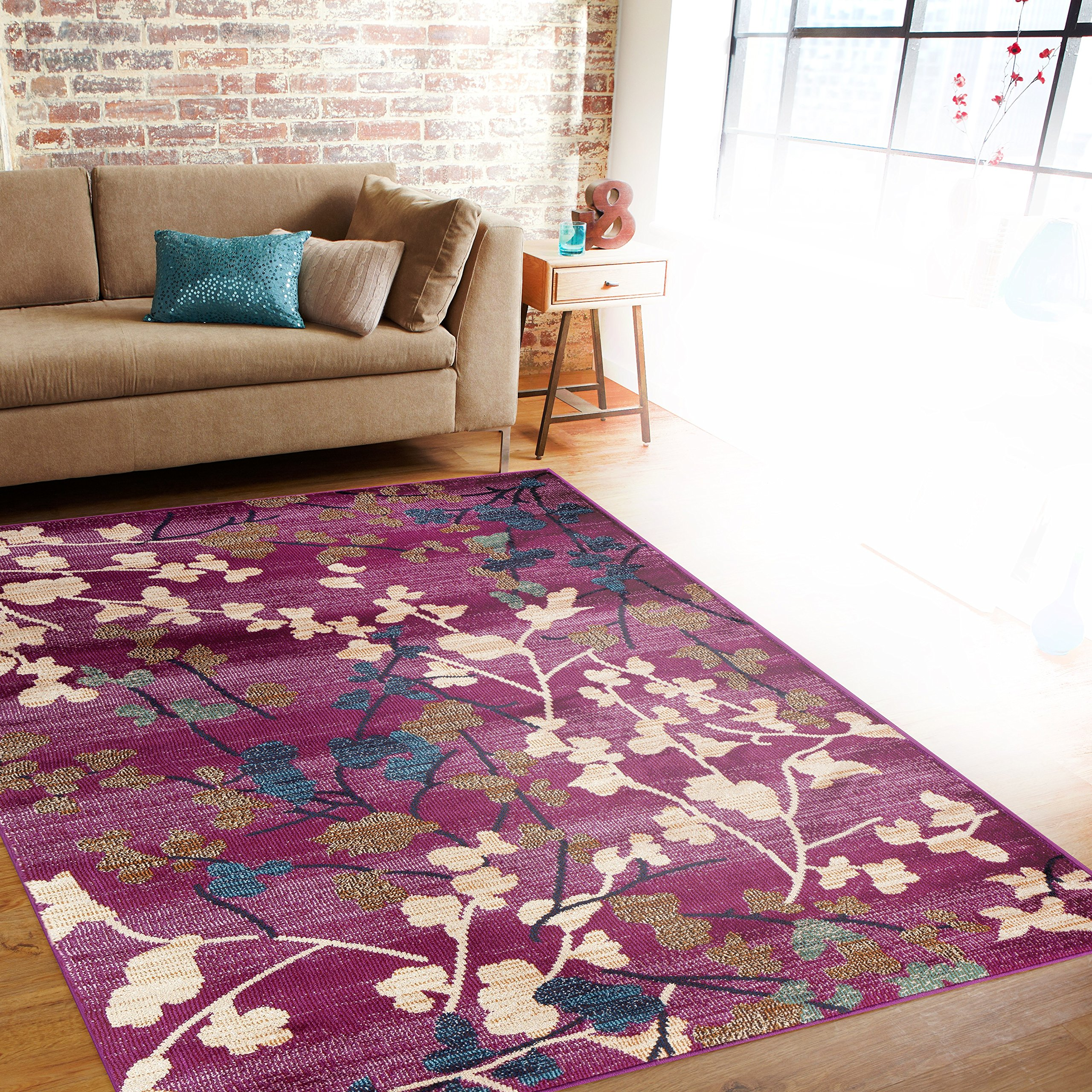 Rugshop Contemporary Floral Soft Area Rug, 2' X 3', Purple