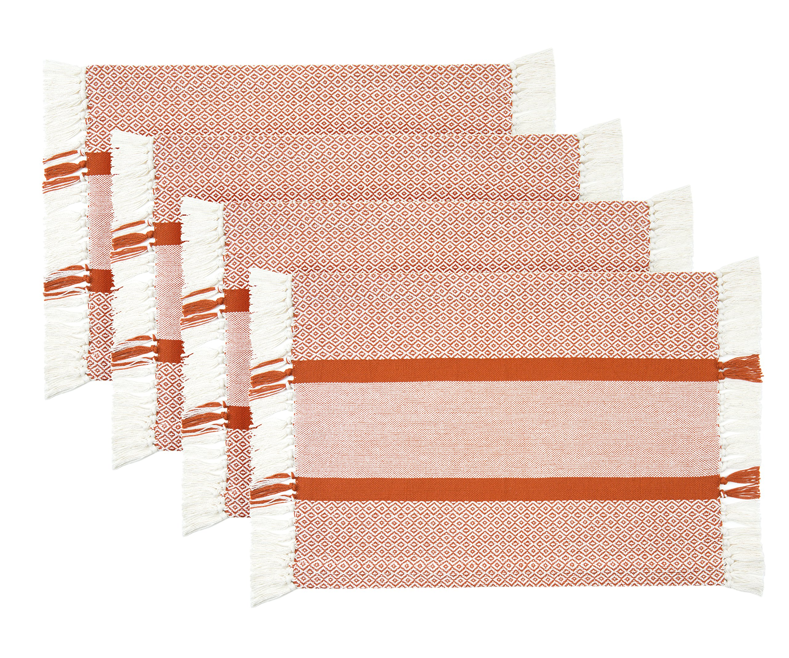 Sticky Toffee Cotton Woven Placemat Set with Fringe for Fall Harvest Halloween, Traditional Diamond, 4 Pack, Orange, 14 in x 19 in