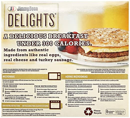 Jimmy Dean Delights Turkey Sausage Egg Cheese Honey Wheat