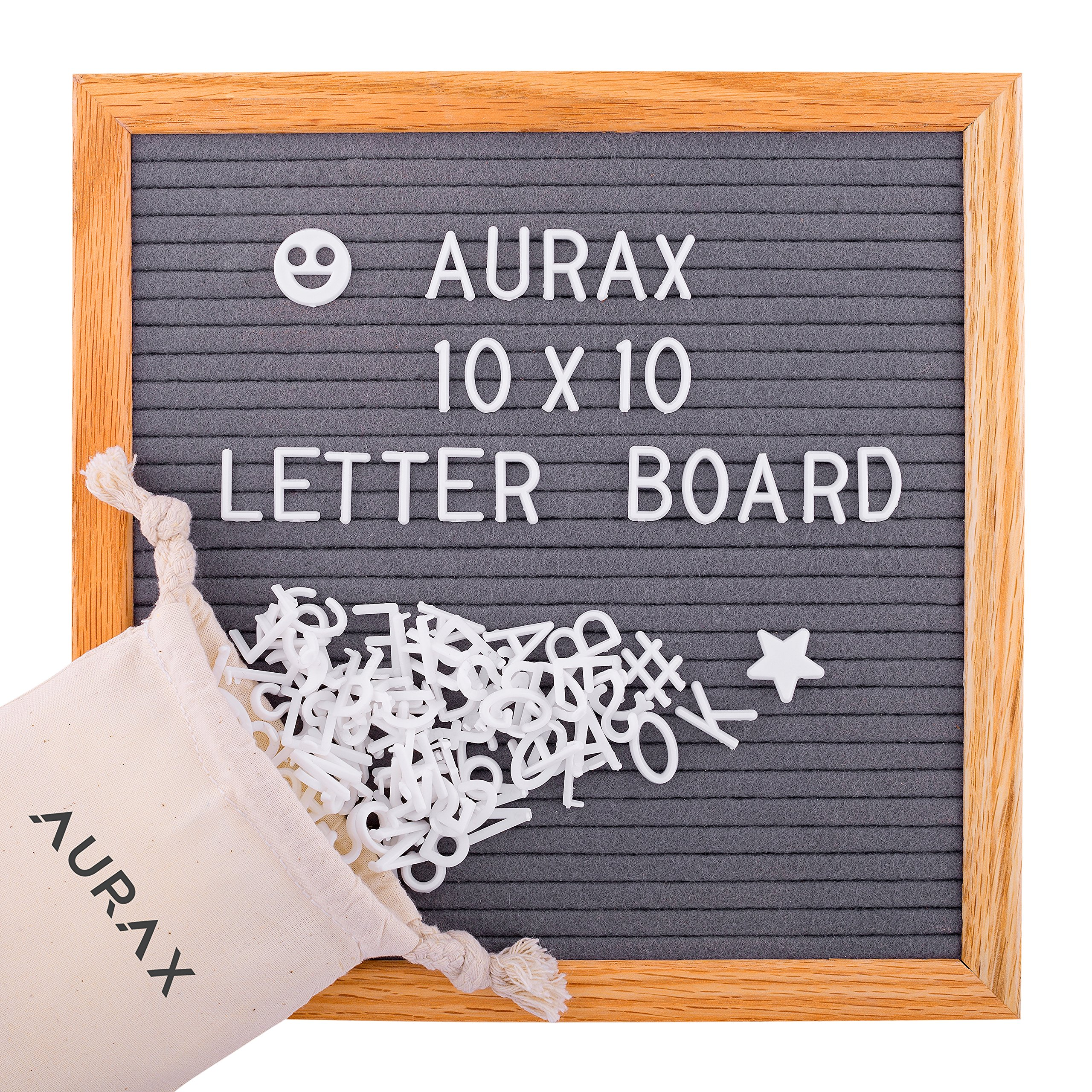 Grey Felt Letter Board 10x10 - Vintage Oak Frame & 290 Changeable White Letters, Numbers, Symbols, Wall Mount Hanger and FREE Canvas Letter Bag - Big Announcements, Wall Quotes, Pefect Gift Ideea, Toy