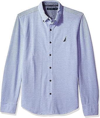 Nautica Camisa de manga larga con botones a rayas: Amazon.es: Ropa y accesorios