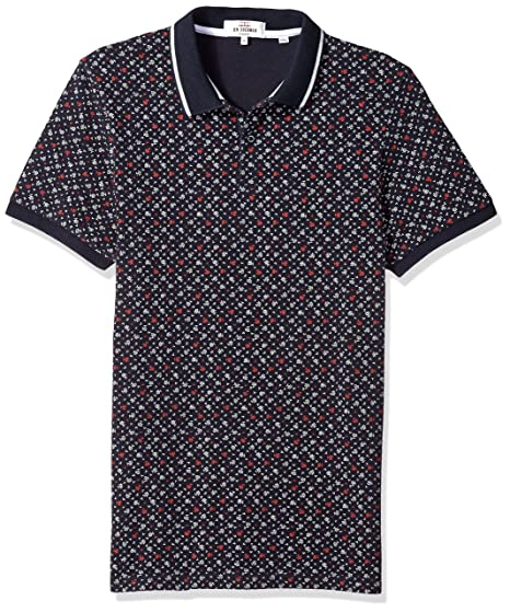 540e8dfe Ben Sherman Men's Short Sleeve Micro Floral Print Polo Shirt, Dark Navy, ...