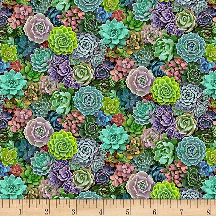 Landscape Medley Small Packed Succulent Multis Quilt Fabric