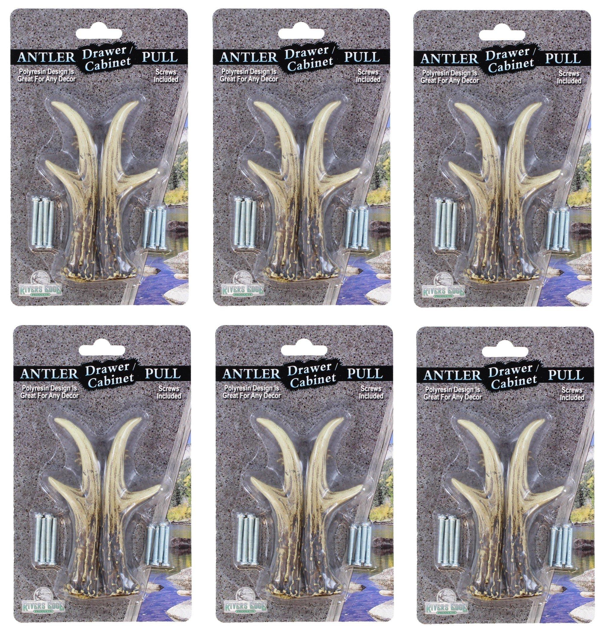 6 Pack Bundle - 3'' Right & Left Antler Drawer / Cabinet Pull - Deer Hunting Cabin Decor
