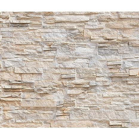 decomonkey Fototapete Steinwand Steine 400x280 cm XXL Design Tapete Fototapeten Tapeten Wandtapete moderne Wand Schlafzimmer
