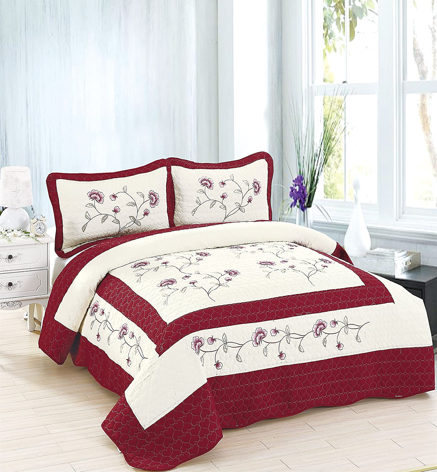 Amazoncom Marcielo 3 Piece Fully Quilted Embroidery Quilts Bedspreads Bed Coverlets