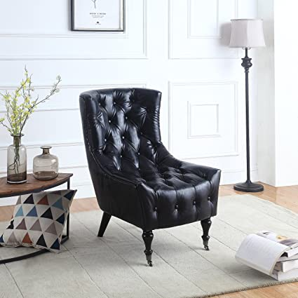 DIVANO ROMA FURNITURE Classic Tufted Faux Leather Shelter Wing Living Room  Chair, Accent Armchair with Casters (Black)