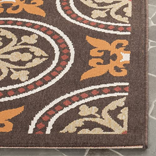 Safavieh Veranda Collection VER030-0325 Indoor Outdoor Chocolate and Terracotta Contemporary Area Rug 8 x 11 2