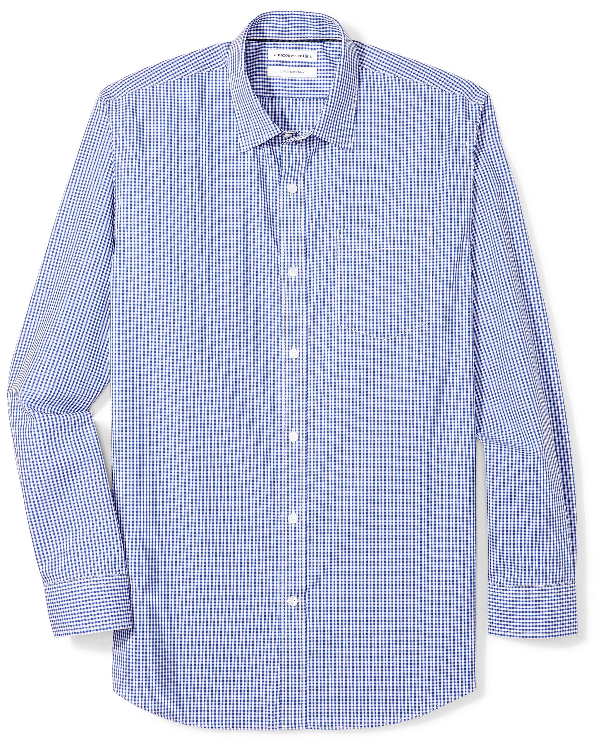 Amazon Essentials Men's Regular-Fit Wrinkle-Resistant Long-Sleeve Plaid Dress Shirt, Blue Gingham, 16.5'' Neck 32''-33'' Sleeve