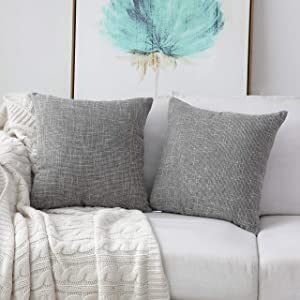 Kevin Textile Faux Linen Square 2 Tone Woven Throw Pillow Sham Cushion Case Covers for Car/Couch Use, 22-inch(2 Packs, Grey)