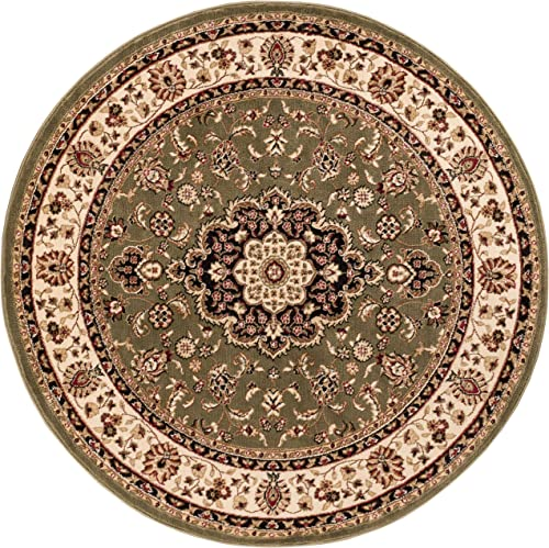 Well Woven Noble Medallion Green Persian Floral Oriental Formal Traditional 4 Round 3'11″ Round Area Rug Easy to Clean Shed Free Modern Contemporary Transitional Soft Living Dining Room Rug