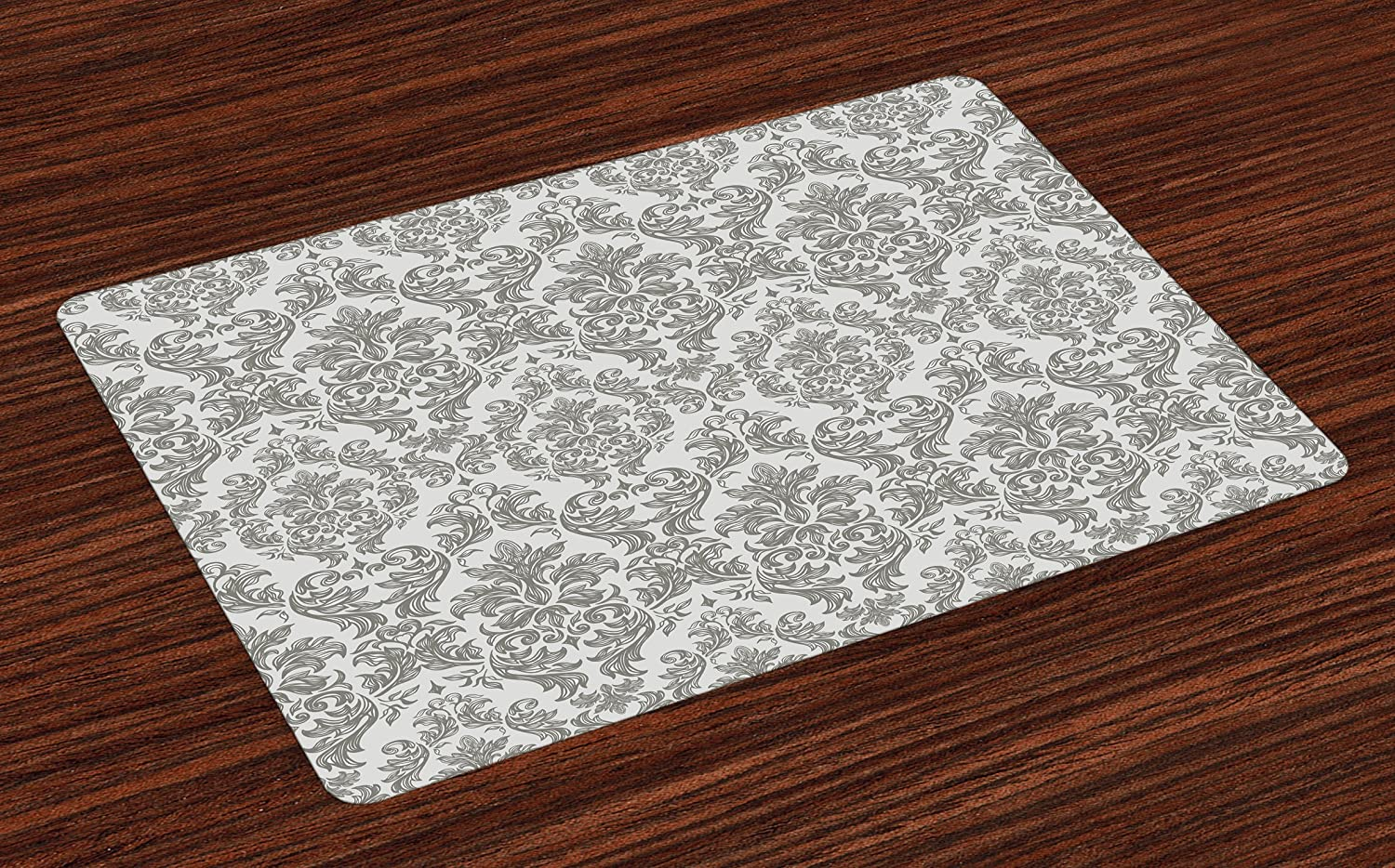 Lunarable Damask Place Mats Set of 4, Baroque Style Leaf Blossoming Pattern Flowery Artful Design Curves Ornamental Artwork, Washable Fabric Placemats for Dining Room Kitchen Table Decoration, Gray
