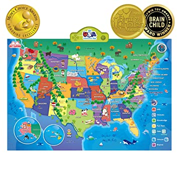 Amazon Com Best Learning I Poster My Usa Interactive Map
