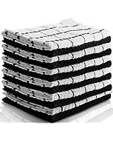 Utopia Towels Kitchen Towels (12 Pack, 15x25 Inch) Pure Cotton Machine Washable 6 Black and 6 White Dobby Kitchen Dish Cloths, Tea Towels, Bar Towels