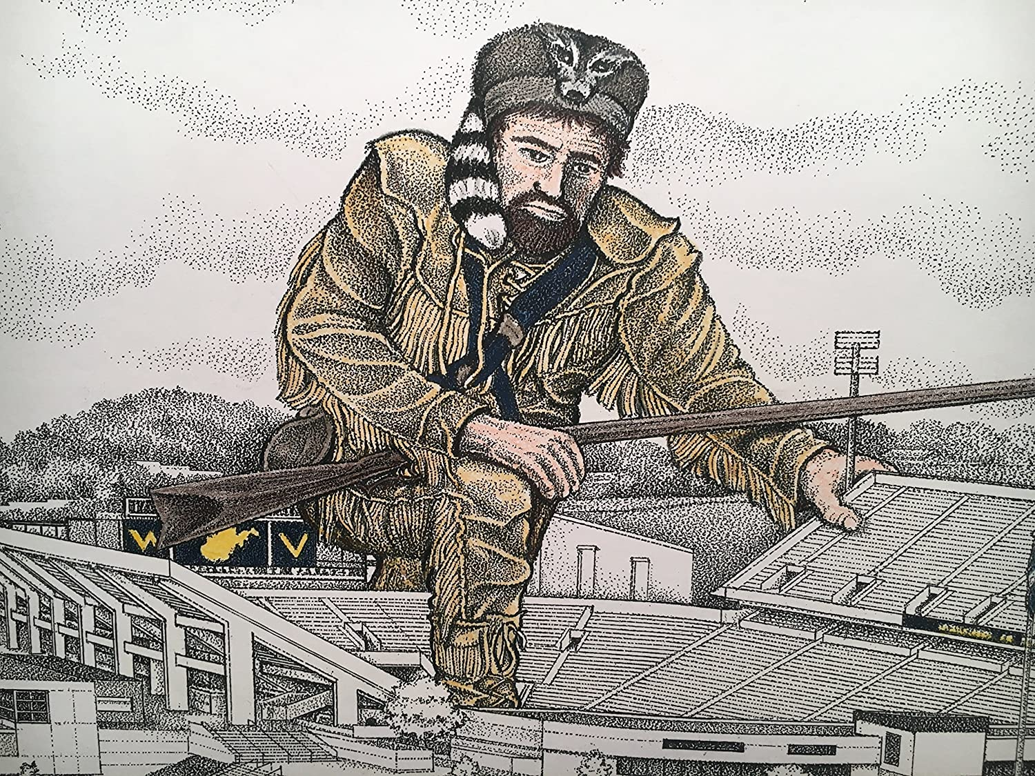West Virginia football stadium - pen and ink drawing with mountaineer in color