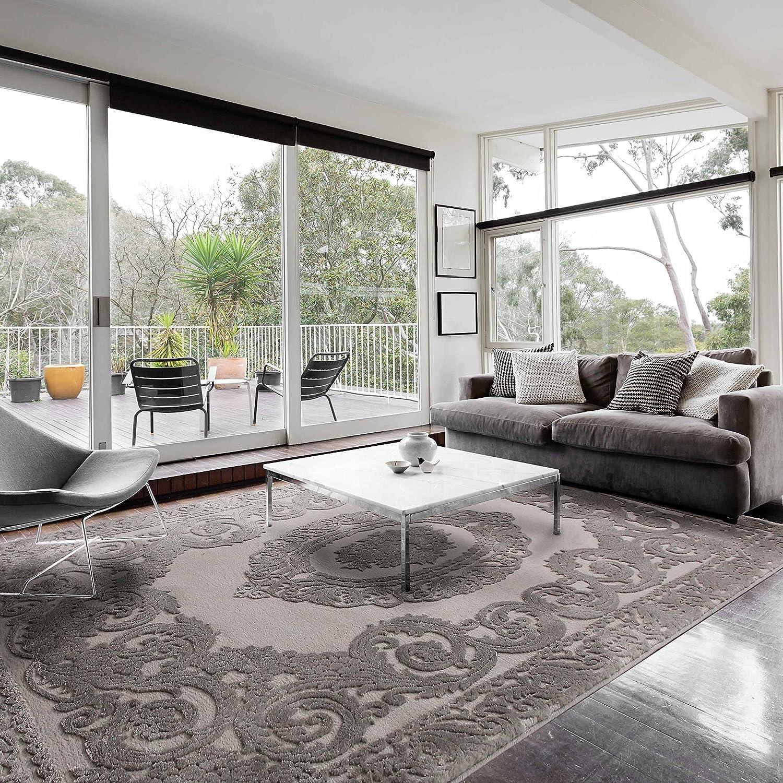 Moderner Teppich Grau Vintage Velour Hochwertige Webung für Wohnzimmer mit Medaillon Muster in versch. Größen (120 x 170 cm)