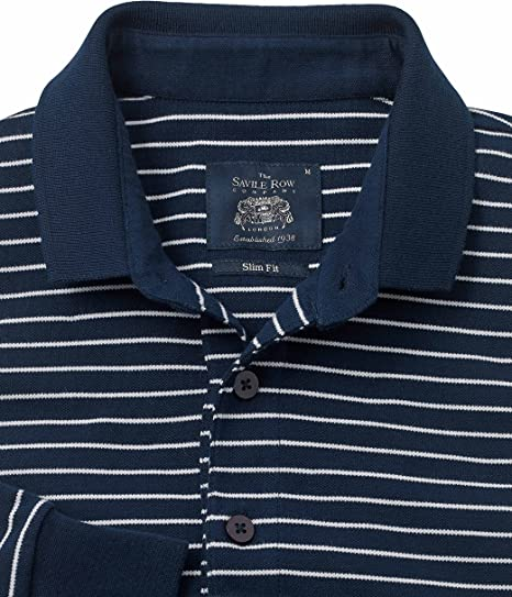 Savile Row Mens Navy Slim Fit Long Sleeve Polo Shirt