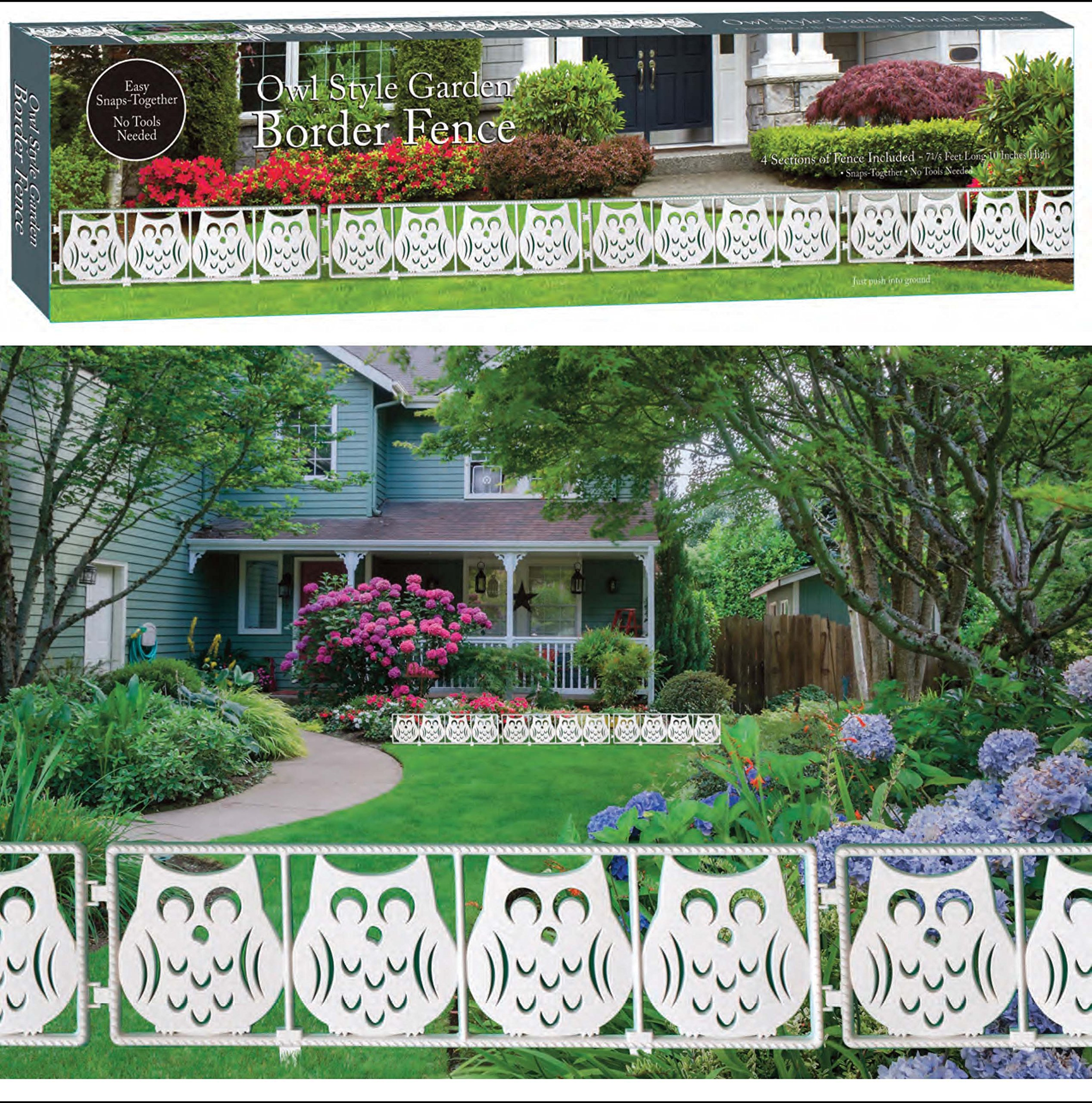 Verstaile Snap Together Owl Style Border Fence - Over 7 Feet Long!