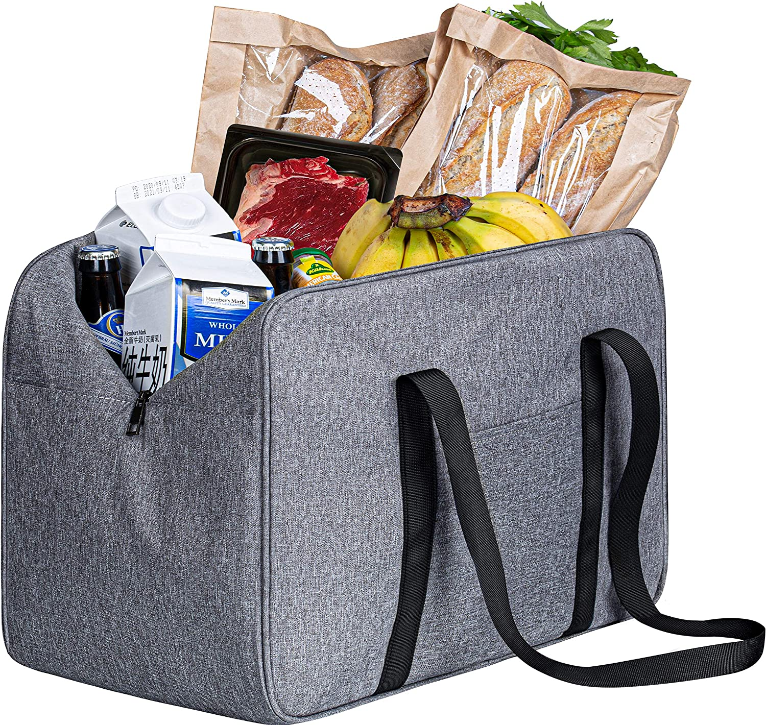 SLEEPING LAMB Heavy Duty Reusable Grocery Bags Tote Insulated Shopping Bags for Groceries with Extra Long Handles & Reinforced Edge, Picnic, Travelling, Camping