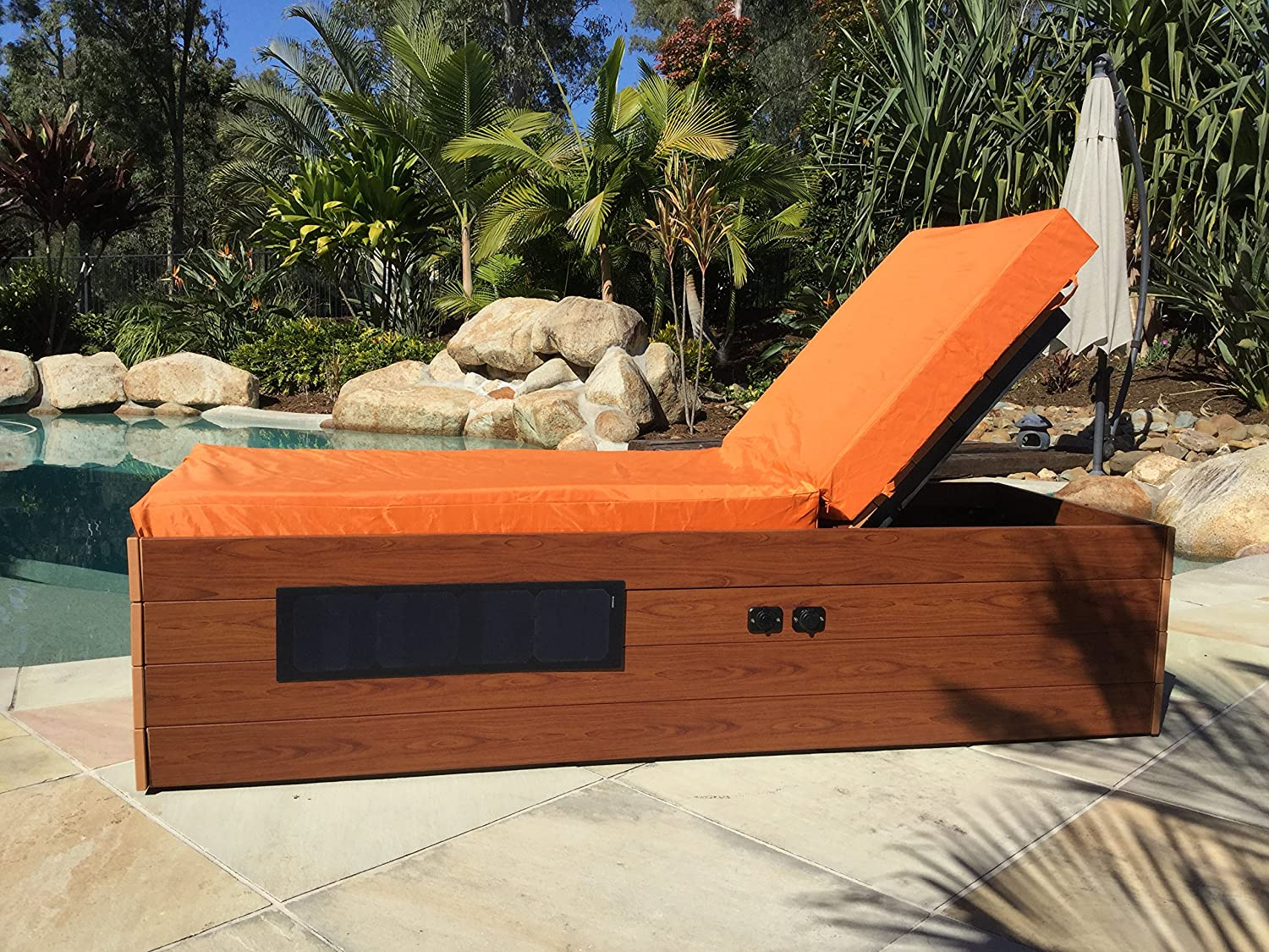 Solar Powered Chaise Lounge with Solar Panel for Charging Phones, Laptops and Tablets. Includes Two USB Charging Ports, 12v Power Outlet and Locker. All-Weather Outdoor Patio (Orange)