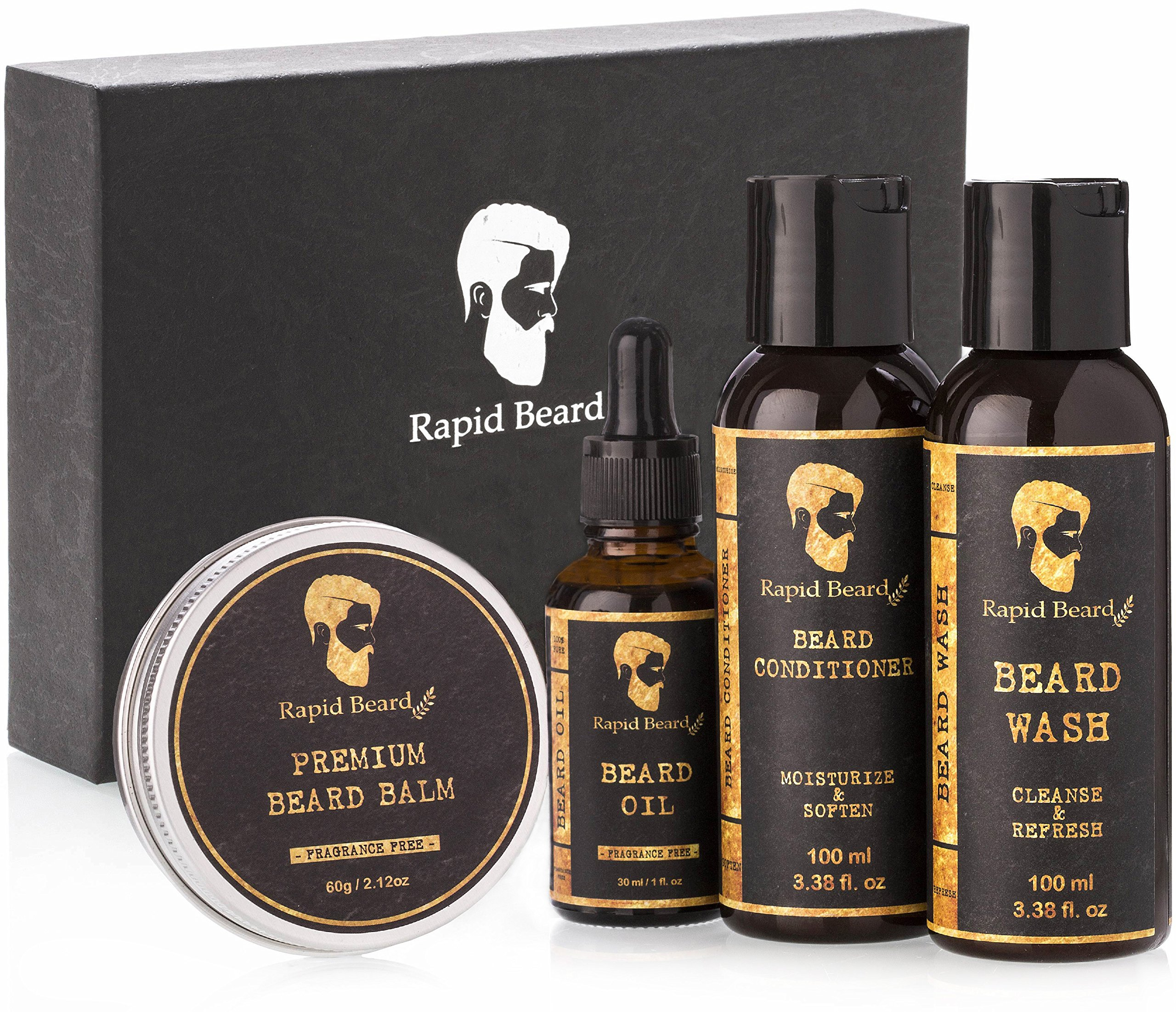 Beard Grooming kit for Men Care - Unscented Beard Oil, Beard Shampoo Wash, Beard Conditioner Softener, Fragrance Free Beard Balm Leave-in Wax Butter - for Styling Shaping & Growth Mustache Gift Set