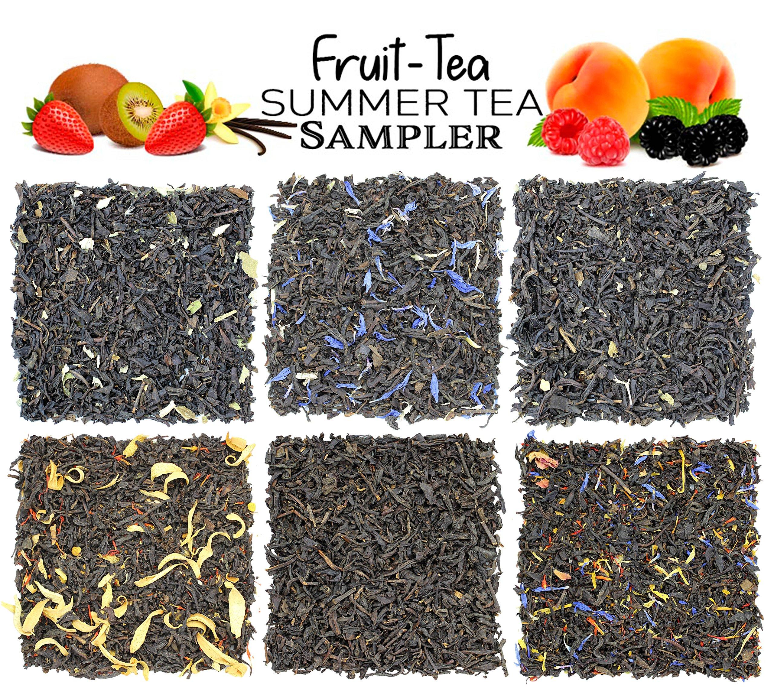Fruit-Tea Summer Tea Sampler, Refreshing Loose Leaf Tea Assortment Featuring Blackberry, Vanilla, Tropicana, Gold Rush, Raspberry, Strawberry Kiwi Black Teas - Approx 90+Cups