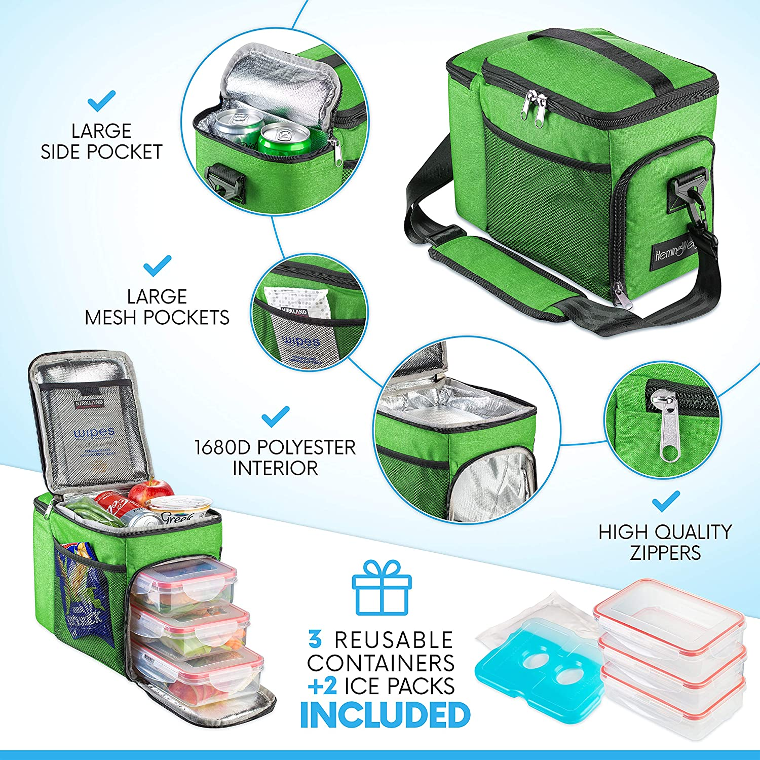 HemingWeigh Reusable Insulated Lunch Box - Durable Lunch Bag Cooler w/Spacious Storage Compartments - Includes 3 Food Storage Containers & Ice Pack (Light Green)