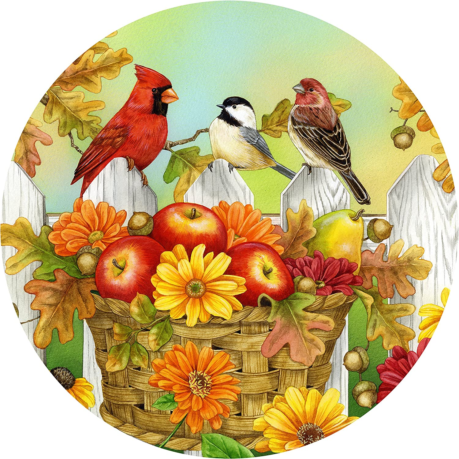 """The Jigsaw Puzzle Factory Jane Maday Rounds Apples & Acorns, Harvest Puzzle Games for Adults and Kids Ages 12 and Up, Made in the USA, 300 Piece, Full Size is 24"""" Around"""