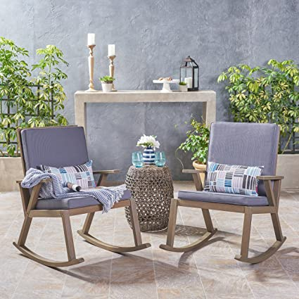 Great Deal Furniture | Andy | Outdoor Acacia Wood Rocking Chair With  Cushion | Set Of