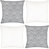 Woven Nook Decorative Throw Pillow COVERS ONLY For Couch, Sofa, or Bed Set Of 4 18 x 18 inch Modern Quality Design 100% Cotton Stripes Geometric mud cloth Brixton Set by
