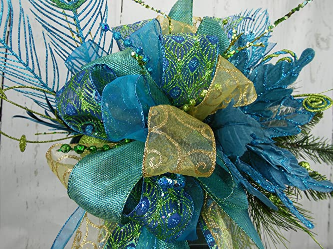 peacock tree topper turquoise and lime peacock swag peacock swag peacock decor - Peacock Christmas Tree Topper
