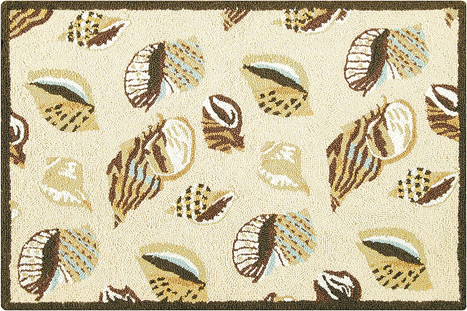 C&F Home Gold Coast Shells Coastal Tropical Beach Yellow Brown Tan Wool Handcrafted Premium Hooked Indoor Area Rug 2x3 Hooked Rug Beige