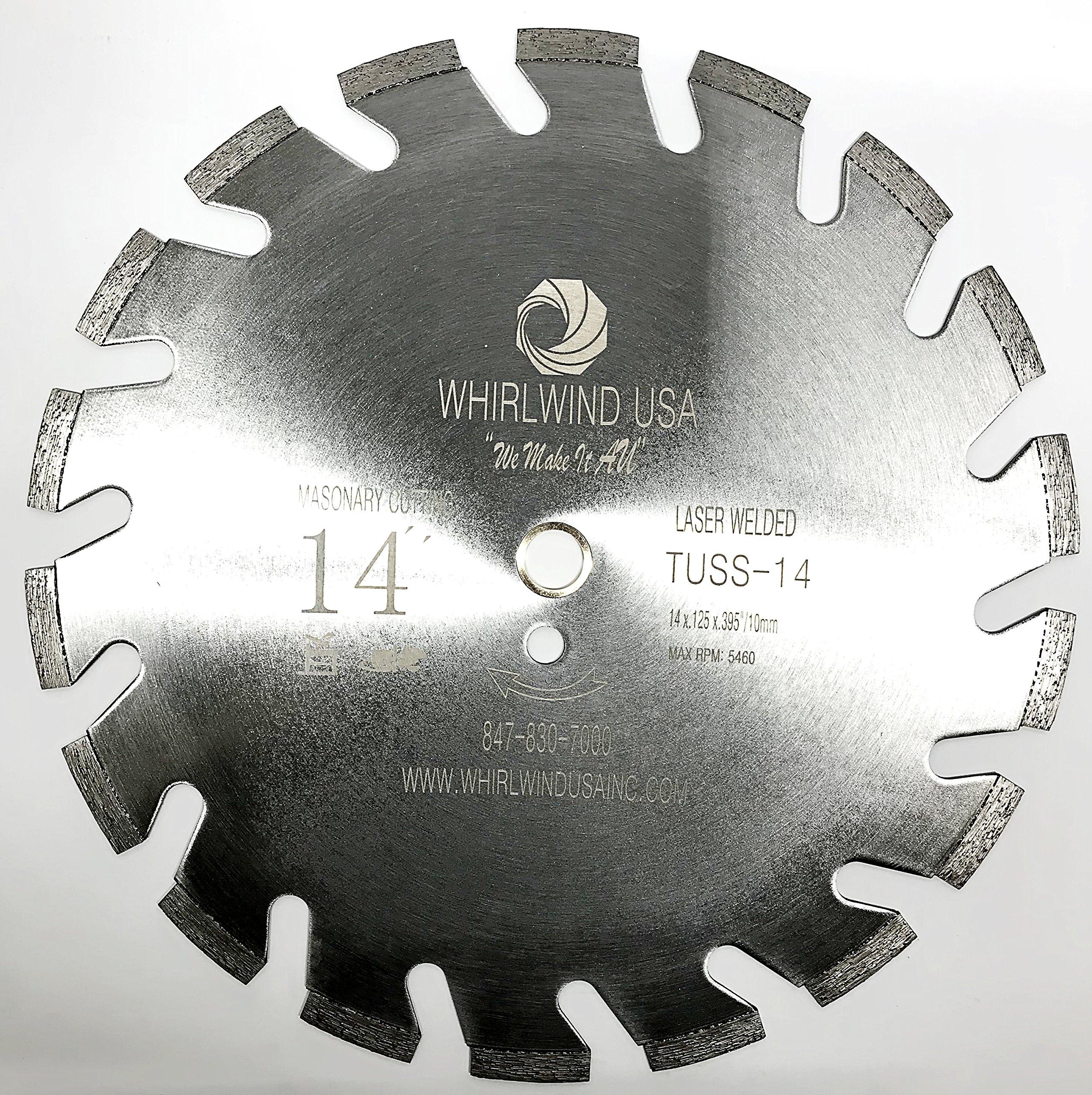 Whirlwind USA TUSS 14 inch U Slot Laser Welded Dry or Wet Power Saw Segmented Masonry Diamond Blades (Factory Direct Sale) (TUSS 14'')