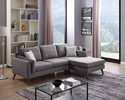 Attrayant Dallas Mid Century Modern Sectional Sofa With Chaise Lounge In Light Grey  Color Fabric