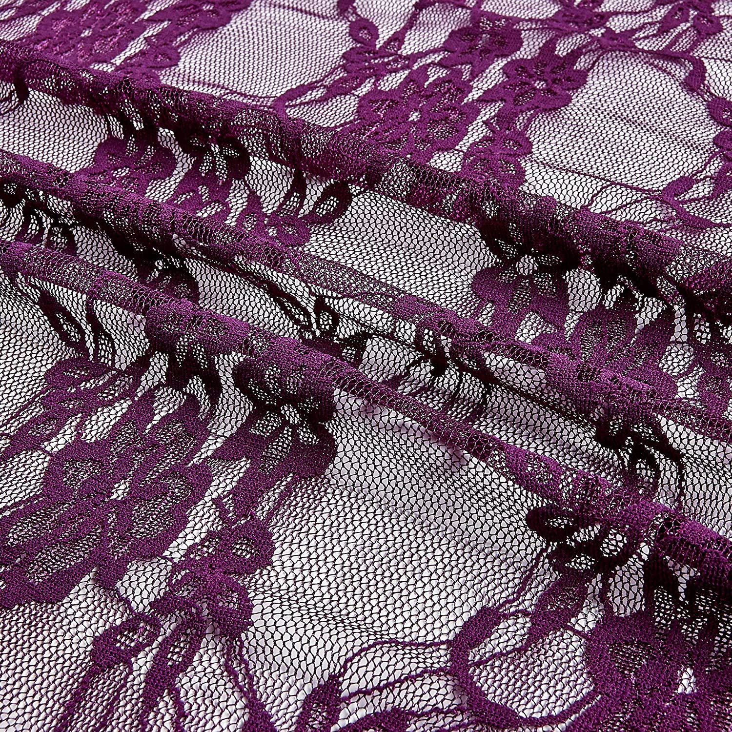 Ben Textiles Giselle Stretch Floral Lace Plum Fabric By The Yard
