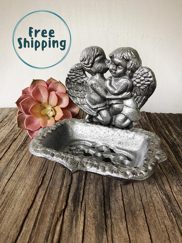 Cute Rustic Sponge Holder Farmhouse Christmas Gift Antique Silver Decorative Soap Dish for Kitchen or Bathroom