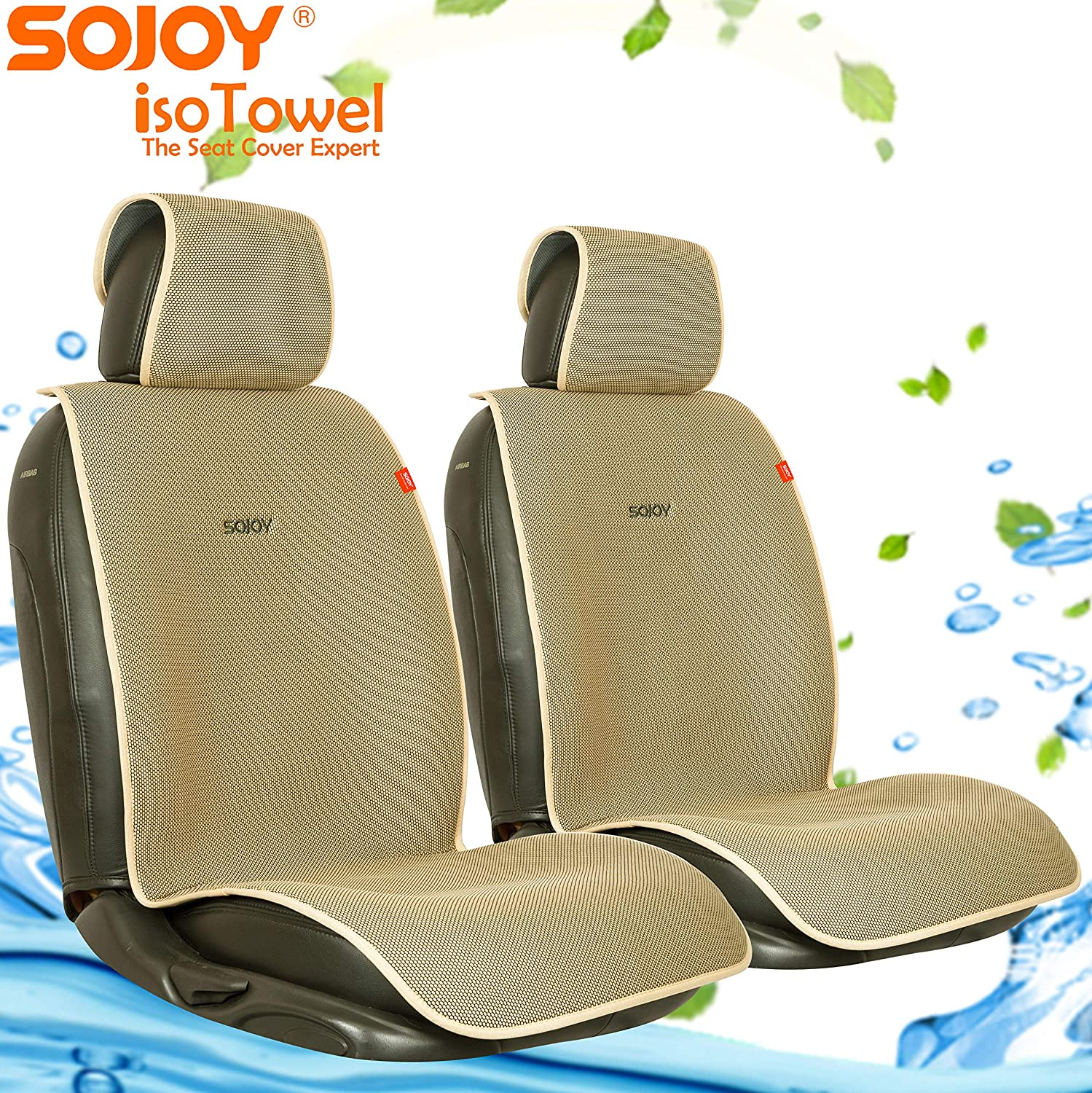 Cream and Tan Sojoy Auto USA SJ-0008-5 Sojoy Summer Cooling Four Seasons Car Seat Cushions for Front Two Seats Comes with 2 Pieces Honeycomb Cloth