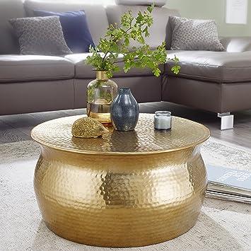 Finebuy Couchtisch Karem 60x30 5x60cm Aluminium Gold Beistelltisch