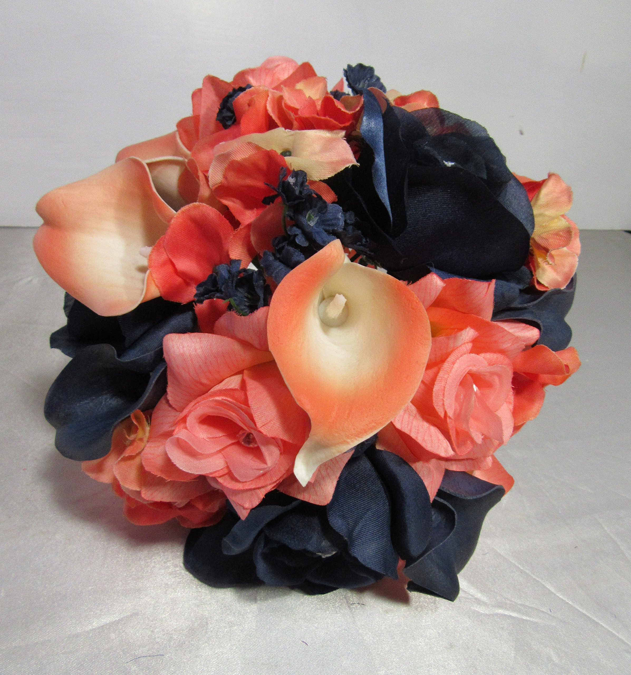 Coral-Navy-Blue-Rhinestone-Rose-Calla-Lily-Bridal-Wedding-Bouquet-Boutonniere