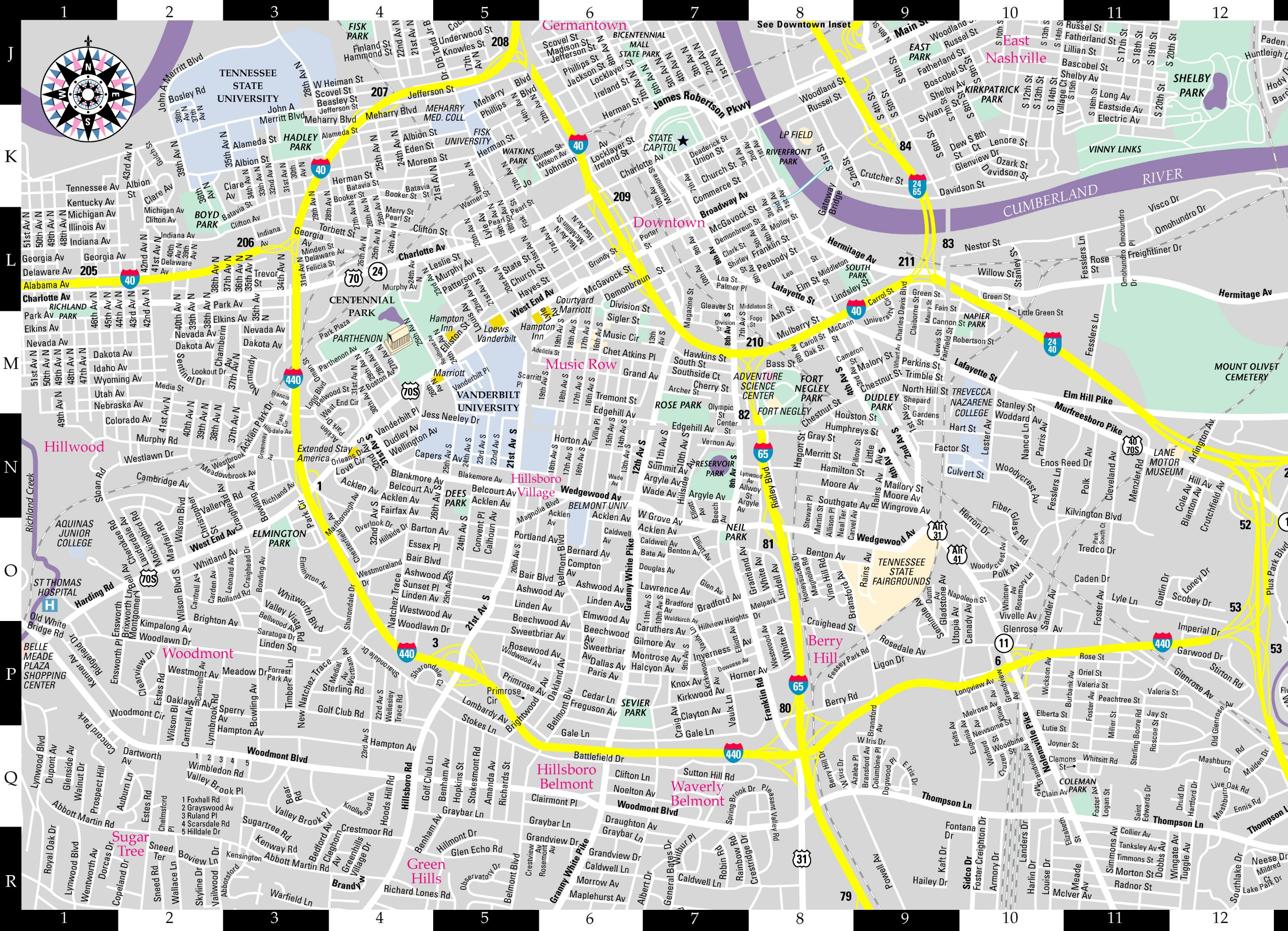 Streetwise Nashville Map Laminated City Center Street Map of – Tourist Map Of Nashville